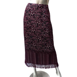 Intriguing Threads Fringed Rococo Print Skirt 14